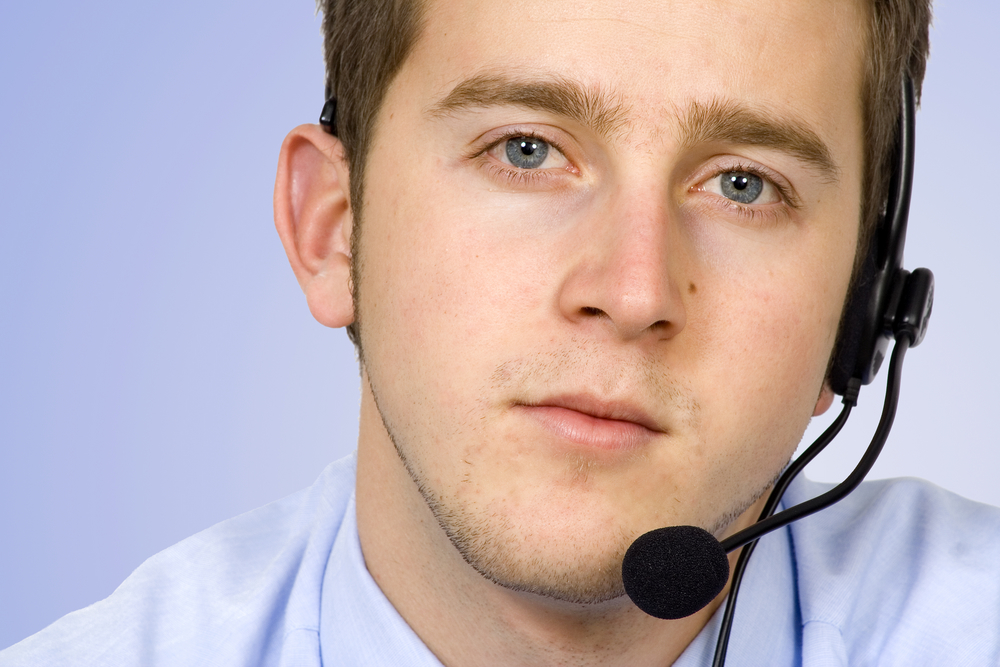 business customer service in blue